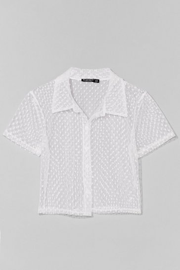 White Mesh Get to It Cropped Spotty Shirt