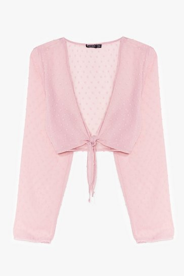 Blush I Sheer Can Plunging Tie Blouse