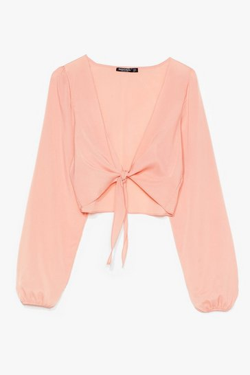 Pink Tie Do You Ask Relaxed Cropped Blouse