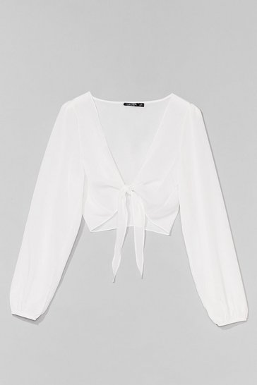 White Tie Do You Ask Relaxed Cropped Blouse