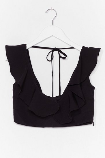 Black The Nights Frill Young Ruffle Crop Top