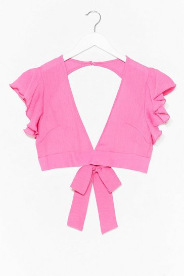 Fushia Take It From V-Neck Crop Top