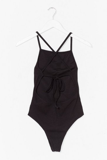 Black Never Open Back Down Ribbed High-Leg Bodysuit