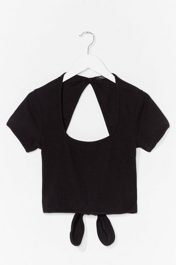 Black Going Open Back to Basics Tie Crop Top
