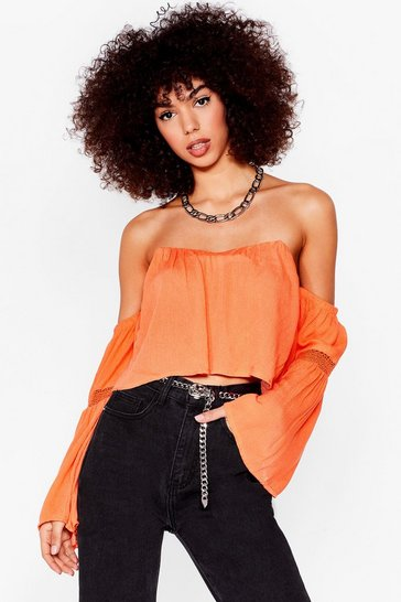 Orange The Hole Story Crochet Off-the-Shoulder Blouse