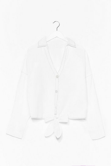 White Call Me Tie Night Contrast Stitch Shirt