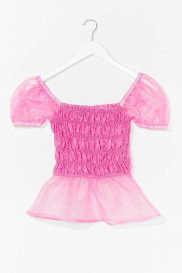 Pink Come Over Sheer Shirred Puff Sleeve Top