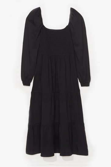 Black Plus Size Tiered Puff Sleeve Maxi Dress