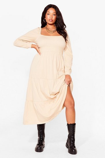 Caramel Tiers to the Good Times Plus Puff Maxi Dress