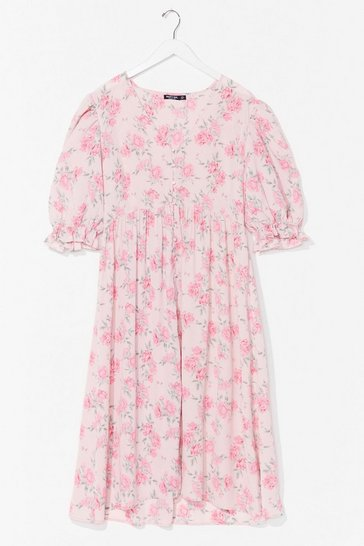 Pink Bud Thing Going On Plus Floral Midi Dress