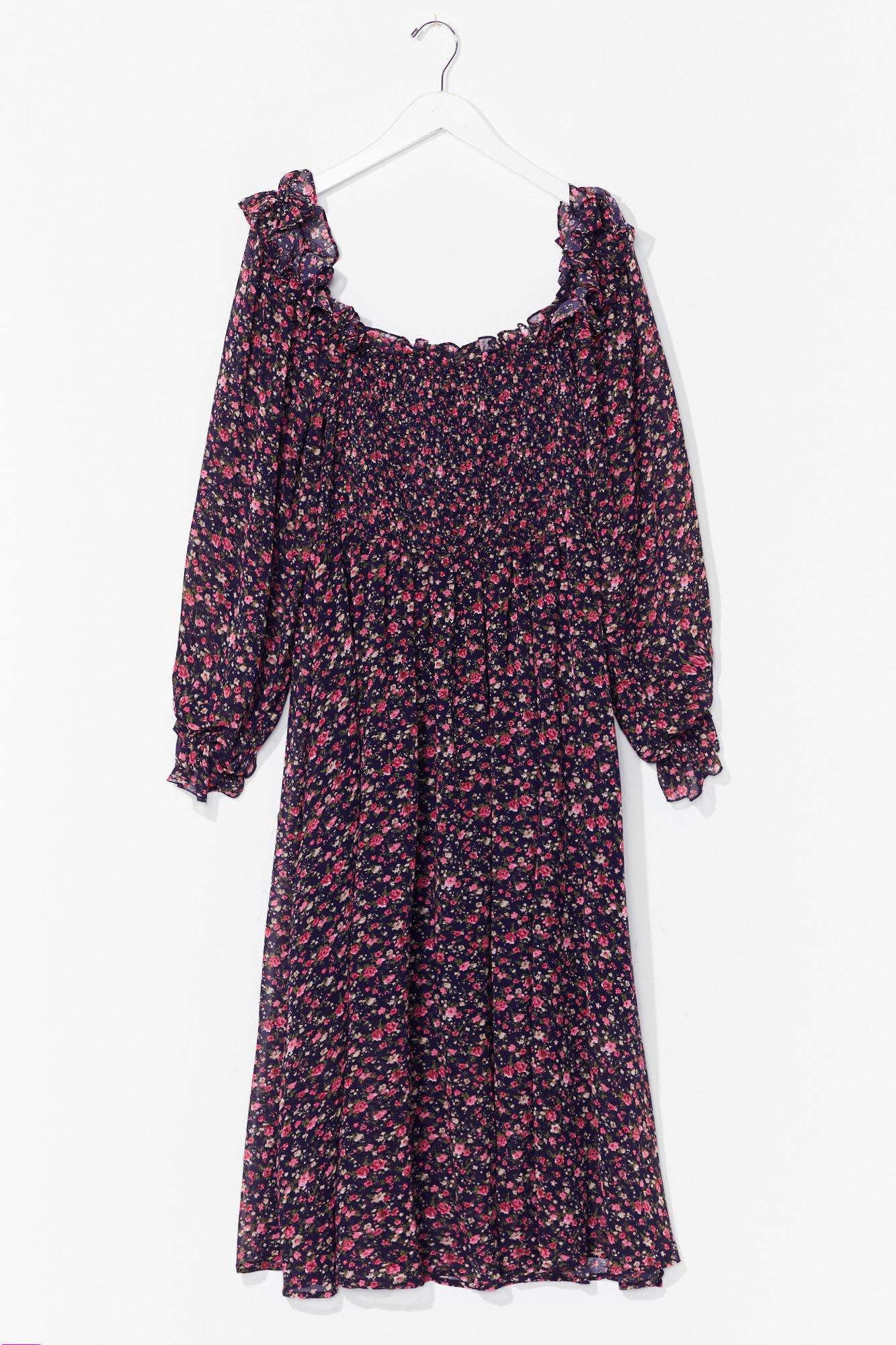 Plus Size Puff Sleeve Shirred Midi Dress 2
