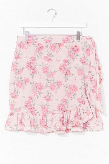 Pink Bud Thing Going On Plus Floral Mini Skirt