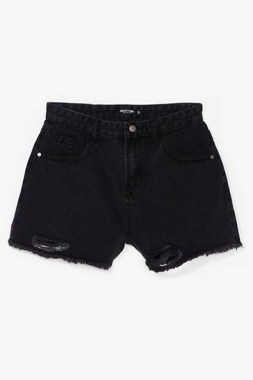 Washed black Come to an End Raw Hem Denim Shorts