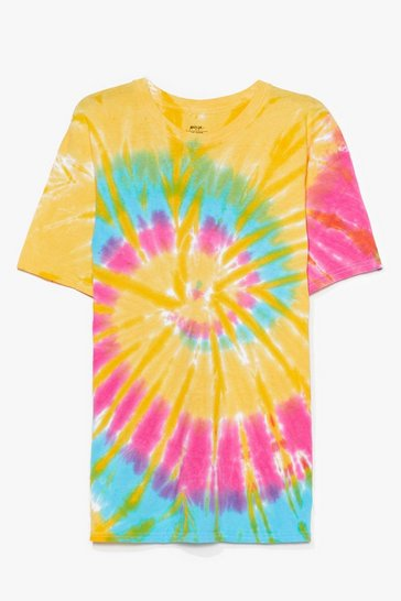 Orange Plus Size Multi Tie Dye Tee