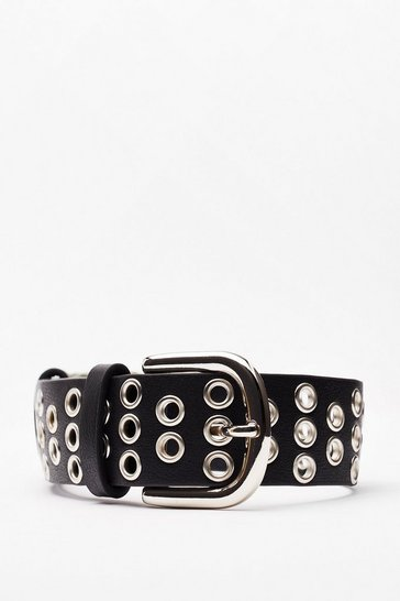 Black Eyelet 'Em Talk About You Faux Leather Belt