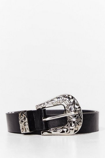 Black Tougher Than the West Faux Leather Belt