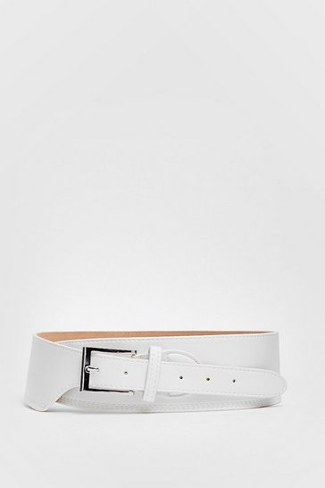 White Layer Down Your Love Faux Leather Buckle Belt