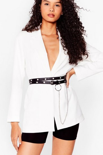 Black Eyelet Your Guard Down Faux Leather  Belt