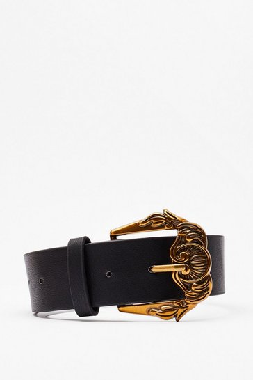 Black Ornate to the Bar Western Belt