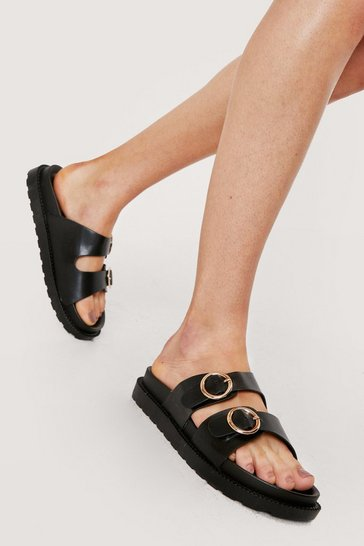 Black ROUND DOUBLE BUCKLE FOOTBED SLIDERS