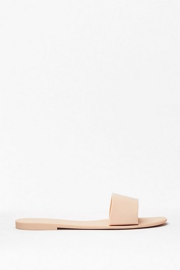 Nude Slide By Slide Faux Leather Flat Sandals
