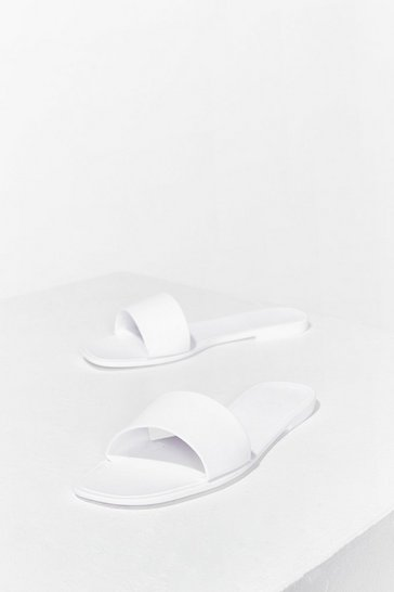 White Slide By Slide Faux Leather Flat Sandals