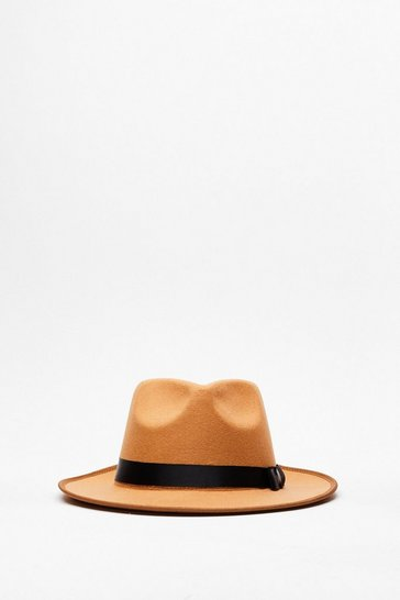 Camel I Spy Faux Wool Fedora Hat