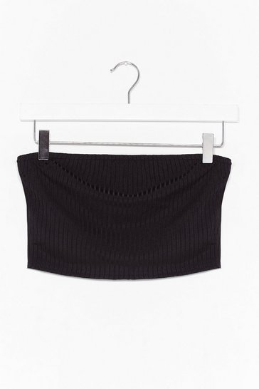 Black Keep Rib Simple Bandeau Crop Top