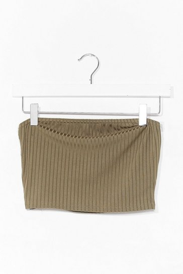 Khaki Keep Rib Simple Bandeau Crop Top