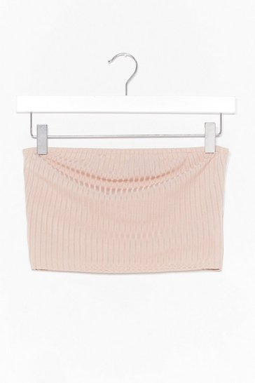 Stone Keep Rib Simple Bandeau Crop Top