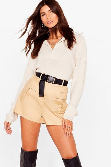 Beige High Waisted Belted Cargo Shorts