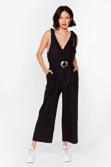 Black Tell Me Ties Belted Wide-Leg Jumpsuit