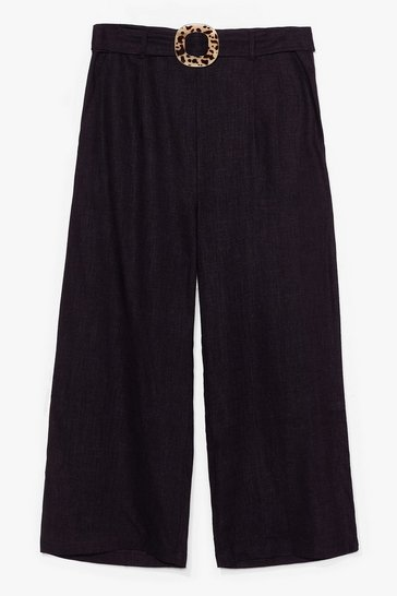 Black What the Buckle Belted Linen Culottes