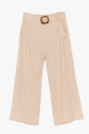 Ecru What the Buckle Belted Linen Culottes