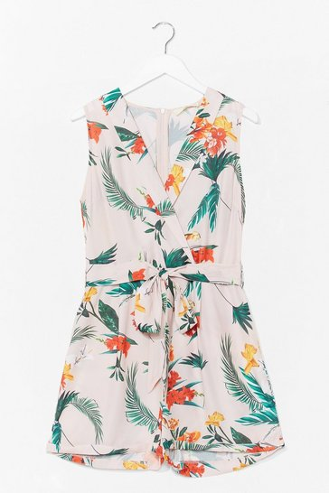 White Palm Springs Floral Wrap Playsuit