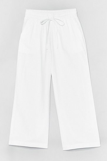 White Time to Waist High-Waisted Cropped Pants