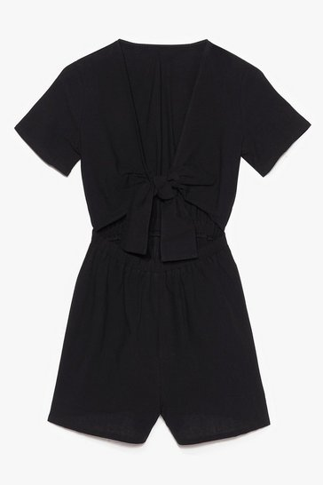 Black Have the Tie of your Life Cut-Out Romper