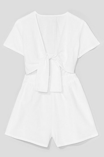 White Have the Tie of your Life Cut-Out Romper