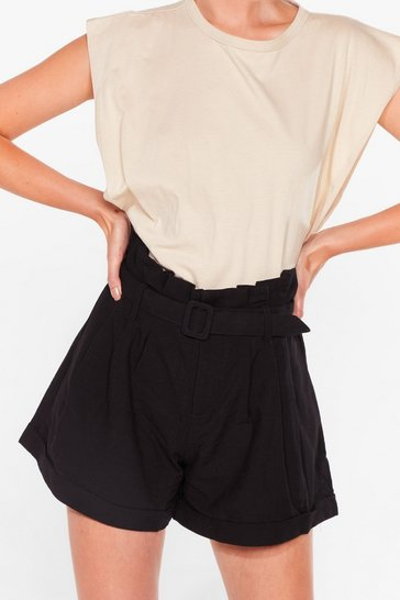 Black Wanna Be Tie Lover Belted Paperbag Shorts