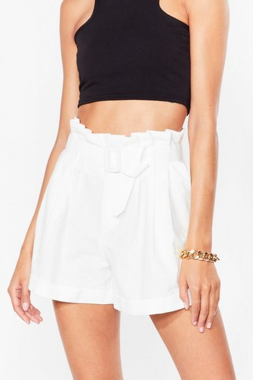 White Wanna Be Tie Lover Belted Paperbag Shorts