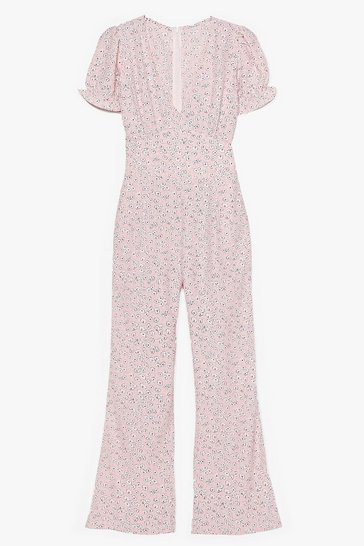 Pink Field Your Power Puff Sleeve Floral Jumpsuit