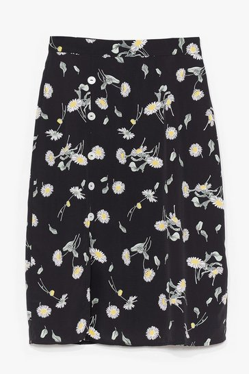 Black Before You Grow Floral Midi Skirt