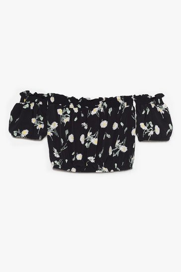 Black Before You Grow Floral Off-the-Shoulder Top