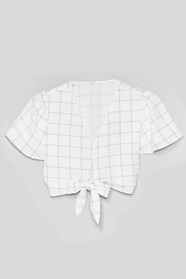 White All Checked in Cropped Tie Blouse