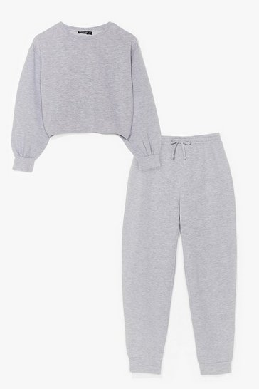 Grey marl cropped sweat and jogger set