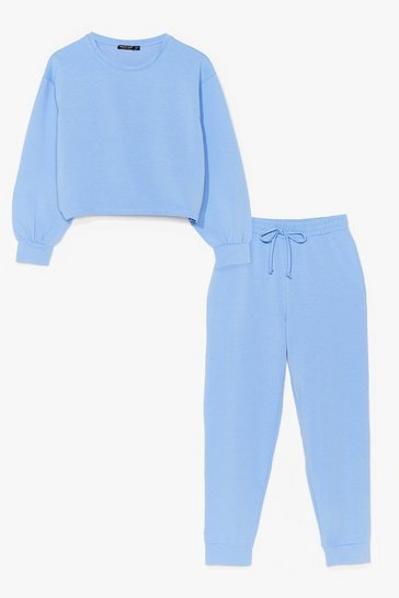 Light blue cropped sweat and jogger set