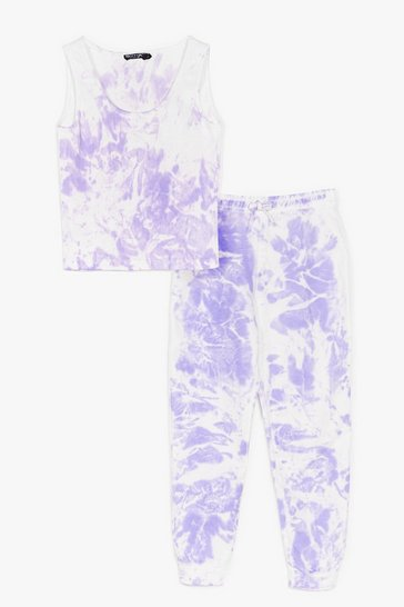 Lilac Turn It Up Tie Dye Top and Jogger Set