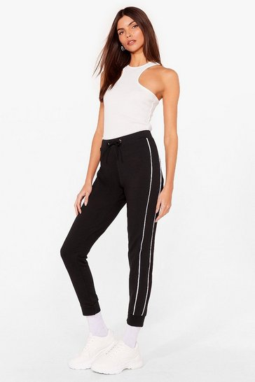 Black Blurred Lines Relaxed Side Stripe Joggers