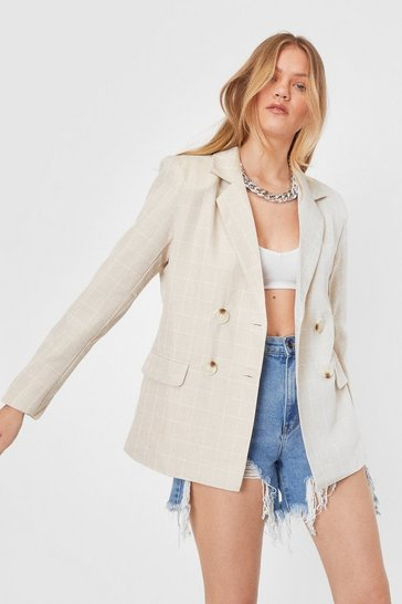 Beige Check Oversized Double Breasted Blazer