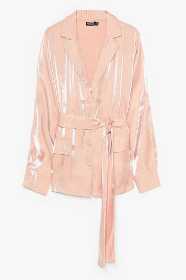 Blush Shine On Tonight Plus Belted Blazer